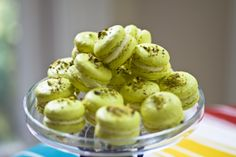 """Pistachio FrenchMacarons Pierre Herme Pistachio French Macaron Recipe French Macarons are a slightly crisp and chewy confection made with egg whites, confectioners sugar, granulated sugar, almond flour and food coloring.Macarons are filled with ganache made of white chocolate, buttercreams or simply fruit preserves.  Its name is derived from the Italian wordmaccaroneormaccherone. According to Wikipedia, """"the history of the French ..."""