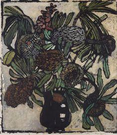Banksia in jug, by Margaret Preston :: The Collection :: Art Gallery NSW Australian Painters, Australian Artists, Natural Forms Gcse, Margaret Preston, Buy Prints Online, Colorful Artwork, Botanical Art, Dried Flowers, Illustration Art