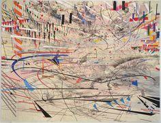 "Julie Mehretu, Stadia I, 2004 Ink and acrylic on canvas 107""x140"""