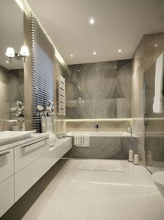 You don't want to change the design of your bathroom every 2 years when trends are changing so it's wise to choose a timeless colour and design. Bathroom Design Luxury, Bathroom Layout, Modern Bathroom Design, Home Interior Design, Bathroom Ideas, Bathroom Cabinets, Bathroom Vanities, Washroom, Bathroom Designs
