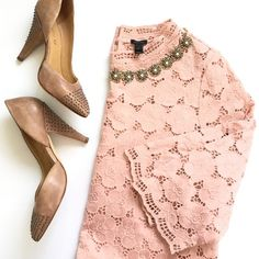 listing! J. Crew Collection lace mockneck tee STUNNING J. Crew COLLECTION Lustre Lace Mockneck tee in blush coloring. Size small. In perfect condition! 19.5 inch bust. 23 inches long. A gorgeous, rare piece. Stock image is exact item, just in a different color. J. Crew Tops Blouses