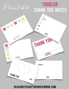 Printable Toddler Thank You Cards / Reasons To Skip The Housework #printables