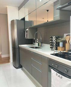 This Small Kitchen Design Makes Everything Easier « lancarbisnis. Kitchen Room Design, Kitchen Cabinet Design, Kitchen Sets, Modern Kitchen Design, Home Decor Kitchen, Interior Design Kitchen, Kitchen Furniture, Home Kitchens, Modern Kitchen Cabinets
