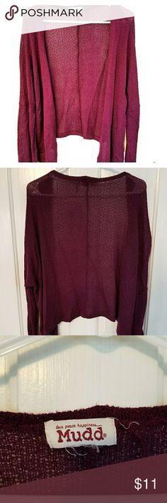 Wine Toned Knit Cardigan Good used condition. Wine toned long sleeve knit cardigan. Perfect shade for autumn. There are some strings hanging from tag. Please see photo. Sweaters Cardigans