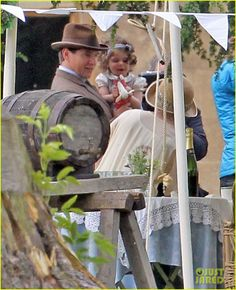Branson, baby Sybil and Mary. Season 4 behind the scenes picture.
