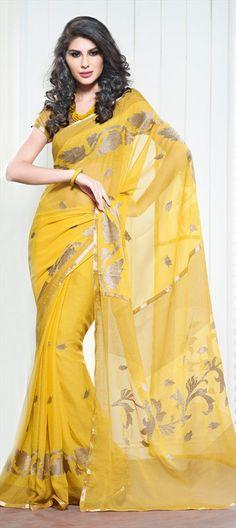 beautiful yellow saree