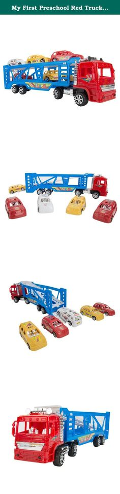 My First Preschool Red Truck Car Beginner Set Toys Lightweighted 1 Truck and 5 Race Cars Great Holiday gift. My First Semi Truck Carrier with 5 Race Cars Set. Great Holiday Gift Educational and Entertaining Truck and Car Set provides hours of fun! High Gloss Paint Job with Detailed Graphics Give the perfect gift with this colorful and fun play set Measures approximately 15 inches long by 5 inches tall by 4 inches wide.