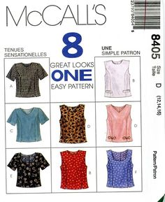 McCall's 8405, 8 Great Looks One Easy Pattern, Misses Tops with Variations, Size AX 4-8, (Uncut) 1996