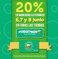 Juguetron: 20% en monedero electrónico Las tiendas Juguetron cuentan con una muy buena oferta y promoción, pues estarán bonificando hasta20% en monedero electrónico en las compras de este fin de semana. *Promoción válidapara Tiendas Cadena. Esta oferta y promoción de el Juguetron es válida el ... -> http://www.cuponofertas.com.mx/oferta/juguetron-20-en-monedero-electronico/