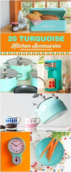 A great round up of 20 turquoise kitchen gadgets and accessories with a retro flare - great gift guide for vintage loving cooks. accessories gadgets 20 Gorgeous Turquoise Kitchen Accessories to Love Turquoise Kitchen Decor, Nautical Kitchen, Aqua Kitchen, Brass Kitchen, Country Kitchen, Diy Kitchen, Kitchen Interior, Organize Life, Must Have Kitchen Gadgets
