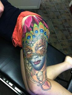 1000 images about leg tattoos on pinterest leg tattoos for Mardi gras mask tattoo