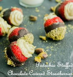 Pistachio Stuffed Chocolate-Covered Strawberries | Eat Chic Chicago
