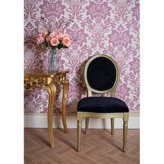 French Louis Side Chair Gold Black Velvet Shabby Chic Antique Style Bedroom Hall Dining Ocassional - Seating from Chicmyhome UK Side Chairs, Dining Chairs, Panel Divider, Shabby Chic Antiques, Black Velvet, Black Gold, French, Bedroom, Furniture