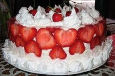 This was my dear daughter pick for her birthday cake, just like her, sweet and cute! Layers of dense pound cake,. Dear Daughter, Fancy Cakes, Pound Cake, Cheesecake, Deserts, Strawberry, Birthday Cake, Sweet, Ethnic Recipes