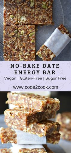 Recipes Snacks Vegan These no-bake date energy bar are loaded with natural ingredients like dates, walnut, almonds, and nuts like pumpkin seeds and sunflower seeds. Being no-bake, they require very less time to prepare…More Healthy Bars, Healthy Vegan Snacks, Healthy Baking, Healthy Desserts, Healthy Drinks, Healthy Recipes, Date Recipes Vegan, Date Recipes Gluten Free, Healthy No Bake