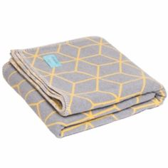 Grey And Yellow Geometric Brushed Cotton Blanket (£75) ❤ liked on Polyvore featuring home, bed & bath, bedding, blankets, geometric blanket, flannel blanket, yellow geometric bedding, gray bedding and grey bedding