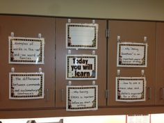 I love the way my best friend displays her DIY Learning Targets. Check it out! Classroom Walls, Classroom Setup, School Classroom, School Fun, Classroom Agenda, School Stuff, School Ideas, Learning Targets, Learning Goals