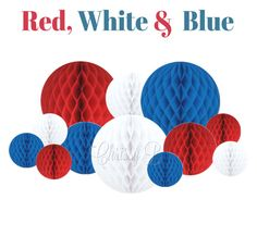 Red White and Blue Honeycomb Tissue Balls - Set of 12 or Set of 9 Tissue Balls - Birthday Party Decorations, 4th of July Decor