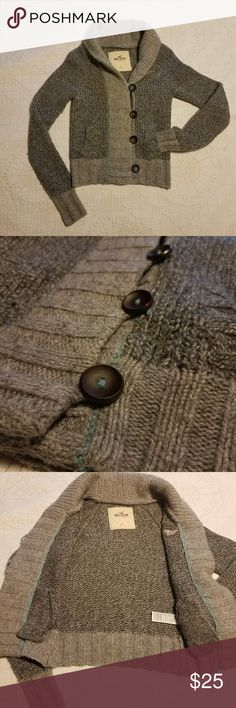 Hollister Sweater Two tone gray button up sweater with light blue accent and large brown buttons.  Heavy,  cardigan,  sweater.   Bundle 2 or more items in my closet and get an extra discount plus only pay shipping for 1 item! Hollister Sweaters Cardigans