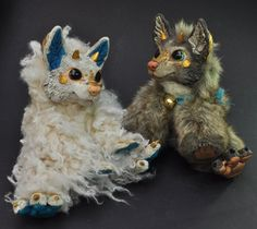 Two resin dragon-foxes by Magweno.deviantart.com on @deviantART