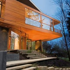 dream home - the perfect balance between wood, glass and concrete...