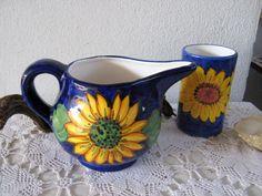 Italian pottery souvenir Pitcher and mini Vase Sunflowers Italian Pottery, Ceramic Pitcher, Yellow Sunflower, Hand Painted Ceramics, Messing, Painting Techniques, Blue Backgrounds, Vase, Souvenir