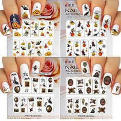Halloween Nail Art Water Slide Tattoo Stickers Decals Fun and Scary  Pack of 4 ** Read more reviews of the product by visiting the link on the image. Note:It is Affiliate Link to Amazon.