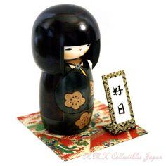 Lovely Creative Kokeshi Doll  KOJITSU (LUCKY DAY), GREEN by Usaburo