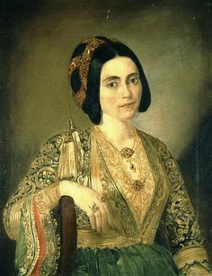 Portrait of a lady, by Dionysios Tsokos, National Art Gallery and Alexander Soutzos Museum, Athens, Greece. Classical Period, Classical Art, Ancient Greek Costumes, Empire Ottoman, Hellenistic Period, Greek Beauty, National Art, Greek Art, Historical Costume