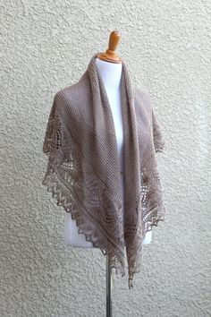 This hand knit shawl is made of wool in lovely beige color. The yarn is heather which means it has a few different shades in the thread (different shades of beige, lig. Bridesmaid Shawl, Bridesmaids, Red Shawl, Lace Knitting Patterns, Needle Felting Tutorials, Wedding Shawl, Knit Wrap, Lace Border, Knit Picks