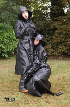 Raincoats For Women Polka Dots Black Raincoat, Hooded Raincoat, Heavy Rubber, Black Rubber, Spice Girls, Brown High Heel Boots, Vinyl Clothing, Plastic Raincoat, Pvc Raincoat