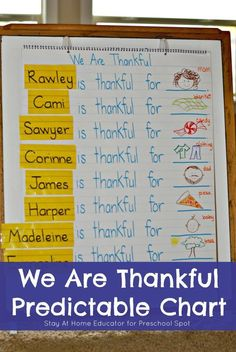 I'm Thankful For Predictable Chart for Preschool Literacy - Stay At Home Educator For Preschool Spot