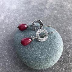 Sterling silver drop earrings with jade teardrop Sterling Silver Dangle Earrings, Silver Drop Earrings, Oxidized Sterling Silver, Jewellery Earrings, Jewelry, Jade Beads, Ruby Red, Gemstone Rings, Silver Earrings