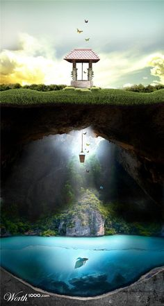 wishing well fish fantasy butterflies water nature serene beauty Landscape What Lies Beneath, Wishing Well, Photomontage, Fantasy World, Photo Manipulation, Belle Photo, Amazing Art, Fairy Tales, Fairy Land
