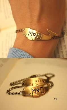 Personalized Whale Bracelet @Laura Gattis how cute are these?