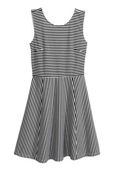 Short jersey dress - White/Striped - Ladies | H&M GB