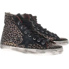 Golden Goose Francy Leopard High Top Leather Sneakers ($410) ❤ liked on Polyvore