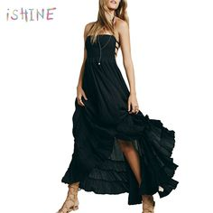 c8dcfe7a46 US $15.49 26% OFF|Aliexpress.com : Buy Women Sexy Backless Boho Beach Dress  Summer Pleated Ruffles Dresses Halter Solid Color Bohemian Maxi Dress from  ...