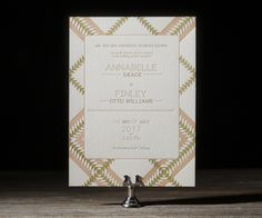 Sporting some clean type and bold textile-inspired motifs, Piper is perfect for an upbeat, creative couple and their entourage of like-minded loved ones. This letterpress wedding invite would fit right in at a simple wedding decorated with natural and cultural curiosities.