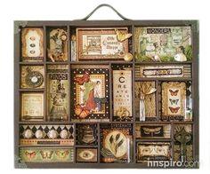 Con los papeles de Graphic 45, Rhea Freitag realiza un bonito tray en el que llena cada recuadro de magia creativa.