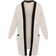 Max Mara Studio Danza White And Black Wool Cashmere Cardigan (€465) ❤ liked on Polyvore featuring tops, cardigans, white, long sleeve tops, wool cardigan, black and white top, white open front cardigan and long sleeve open front cardigan