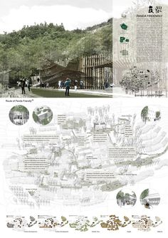 Exploring Post Earthquake Reconstruction: 2013 AIM Competition Awards Announced,Scenic Village Planning Award. Image Courtesy of AIM Landscape Architecture Drawing, Architecture Panel, Landscape Concept, Architecture Graphics, Landscape Design, Architecture Diagrams, Presentation Board Design, Architecture Presentation Board, Architectural Presentation
