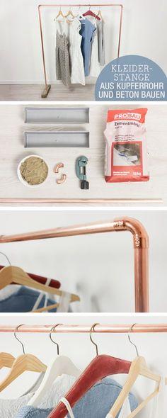 DIY-Anleitung: Kleiderstange aus Kupferrohr und Beton bauen / diy tutorial for a clothes rail via DaWanda.com
