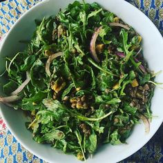 Todays #Lunchbox:  One of my favorite salads:  Lemon & Cumin Lentils with Arugula Avocado and Red Onions... #eatclean #foodie #salad #yums #eathealthy