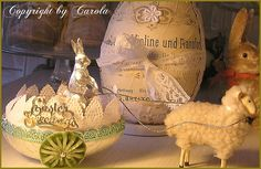 """Vintage inspired egg cart with putz lamb and silver Dresden foil bunny and golden """"Easter Greetings""""!"""