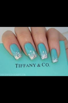 Tiffany sparkle nails ♥      A must for retail therapy with your girlfriends!!                                                                                                                                                                                 More