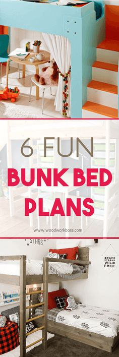 Bunk Bed Ideas for Small Rooms / DIY Bunk Bed Plans / Bunk Bed Ideas for Boys / Bunk Bed Ideas for Girls Room / Free Bunk Bed Plans / Bunk Bed Plans with Stairs