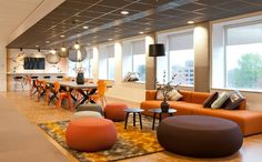 Total concept, renovation, revitalization of architectural and interior design of Rabobank central city bank in Nijmegenn, The Netherlands