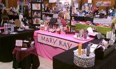 This is my daughter's Mary Kay booth at a local business fair.  I made the MARY KAY banner!  (Hw)