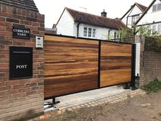 Electric gates fitted with BFT underground motors. Special brackets were fabricated as driveway sloped up towards the property. Gate is from our Warwickshire design, metal framed with iroko hardwood timber. Electric Driveway Gates, Electric Gates, Side Gates, Gate Design, Unique Photo, Wrought Iron, Yard, Driveways, Motors